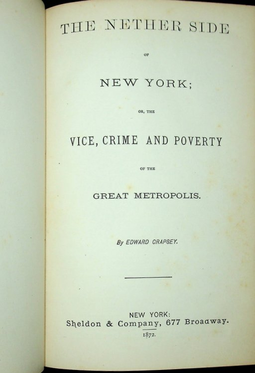 The Nether Side of New York; or, the Vice, Crime and Poverty of the Great Metropolis. Edward Crapsey.