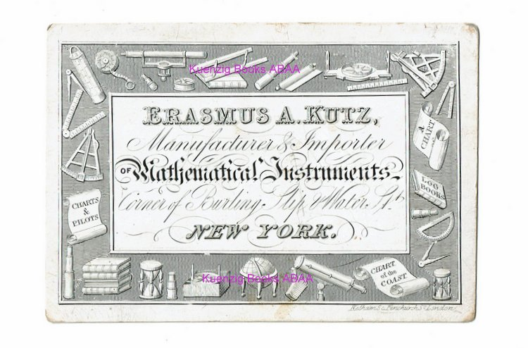 [ Ephemera, Trade Cards ] Advertising Card for Mathematical Instruments manufactured and imported by Erasmus A. Kutz. Erasmus A. Kutz, Sr.
