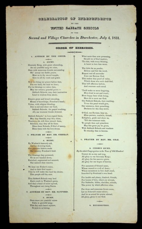 [ Broadside ] Celebration of Independence by the United Sabbath Schools of the Second and Village churches in Dorchester, July 4, 1831.