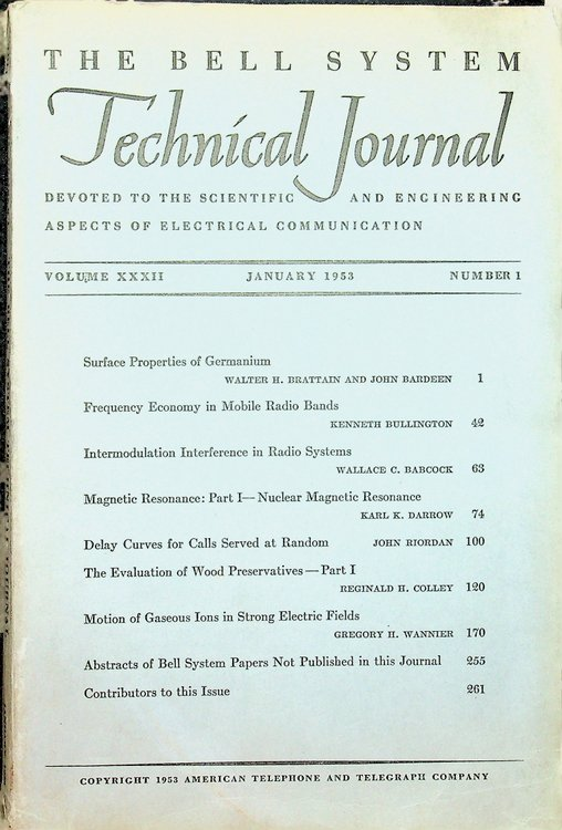 Surface Properties of Germanium IN The Bell System Technical Journal Volume XXXII Jan 1953, Number 1. J. Bardeen, W. H. Brattain.