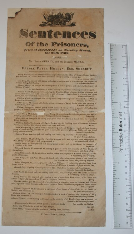[Broadside] Sentences of the Prisoners, Tried at BODMIN, on Tuesday March, the 26th 1839 before Mr. Baron Gurney and Mr. Justice Maule. Deeble Peter Hoblyn, Sheriff.