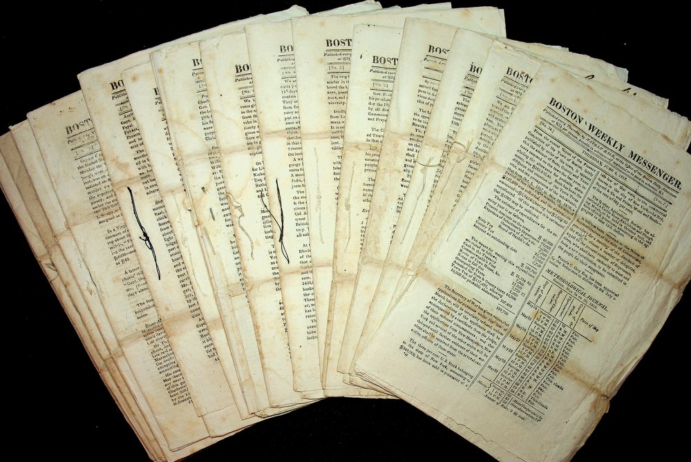 Twenty two issues of the Boston Weekly Messenger from 1818 and 1819. Nathan Hale, publisher.