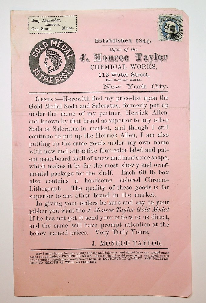 [ ephemera, food related ] Gold Medal is the Best : Established 1844. Office of J. Monroe Taylor CHEMICAL WORKS ... herewith find my price-list upon the Gold Medal Soda and Saleratus, formerly put up under the name of my partner, Herrick Allen. J. Monroe Taylor.