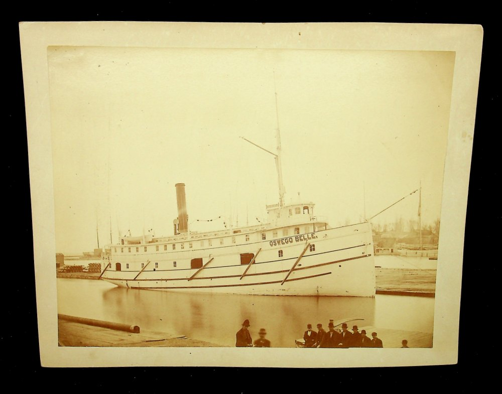 Albumen photograph of the ship OSWEGO BELLE with great photographer label on rear. F. W. Oliver.