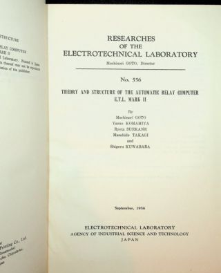 Theory and Structure of the Automatic Relay Computer E.T.L. Mark II (INSCRIBED)