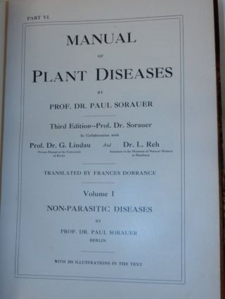 Manual of Plant Diseases, Volume I Non-Parasitic Diseases ... Third Edition ... with 208 illustrations in the text
