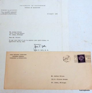 Jonas Salk typed signed letter with envelope. Jonas Edward Salk.
