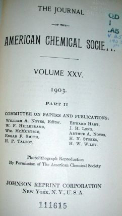 Journal of the American Chemical Society Volumes 1 to 25 1879-1903