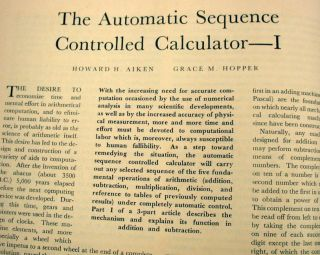 The Automatic Sequence Controlled Calculator I, II, and III. Grace Hopper, Howard H. Aiken.