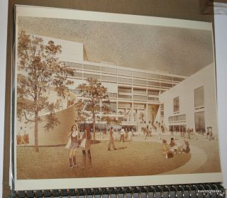 Architect's presentation binder with graphs and photos of architectural drawings of proposed facilities for the campus of City College at the City University of New York