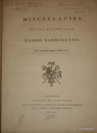 Miscellanies by the Honourable Daines Barrington. VOYAGE, TRAVEL