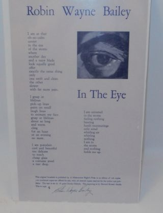 In The Eye [ A POETRY BROADSIDE ]. Robin Wayne Bailey