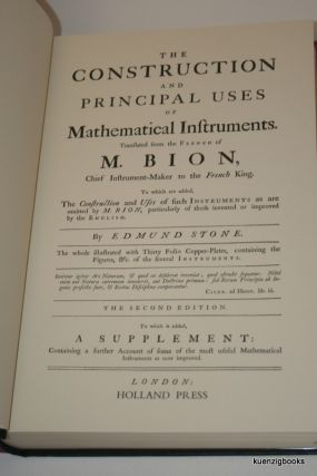 The Construction and Principal Uses of Mathematical Instruments. M. Bion, Edmund Stone