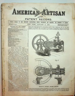 American Artisan Jan 15, 1868 to July 8, 1868 WITH Patent Record ...A Supplement to American...