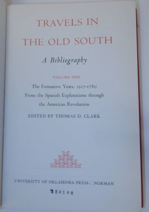 Travels in the Old South a Bibliography (3 Volumes )