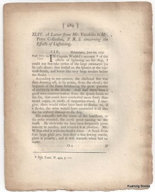 A Letter from Mr. Franklin to Mr. Peter Collinson, F. R. S. concerning the Effects of Lightning