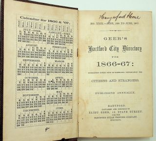 Geer's Hartford City Directory for 1866-67 : Containing every kind of desirable information for Citizens and Strangers. Published Annually. No. XXIX - June 1866 to June 1867