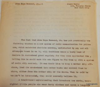 Small archive of material related to John Hays Hammond Jr. including signed letters and a detailed biographical article by Janet Mabie