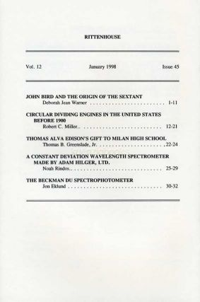 Rittenhouse Vol. 12 No. 1 (Issue 45), January 1998 : Journal of the American Scientific Instrument Enterprise