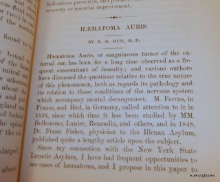 "[ Photographically Illustrated Books ] ""Haematoma Auris"" IN The American Journal of Insanity Vol XXVII"