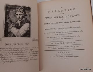 A Narrative of the Two Aerial Voyages of Doctor Jeffries with Mons. Blanchard ; with Meteorological Observations and Remarks