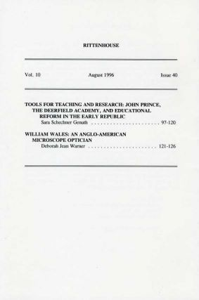 Rittenhouse Vol. 10 No. 4 (Issue 40): Journal of the American Scientific Instrument Enterprise August 1996