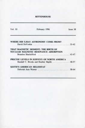Rittenhouse Vol. 10 No. 2 (Issue 38): Journal of the American Scientific Instrument Enterprise February 1996