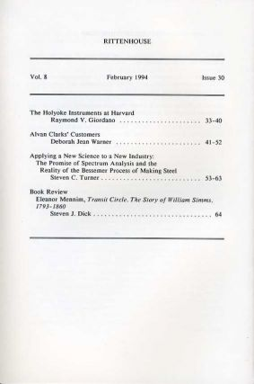 Rittenhouse Vol. 8 No. 2 (Issue 30): Journal of the American Scientific Instrument Enterprise Feb 1994