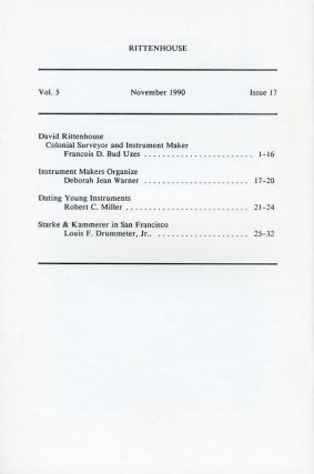 Rittenhouse Vol. 5 No. 1 (Issue 17): Journal of the American Scientific Instrument Enterprise Nov 1990