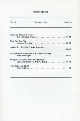 Rittenhouse Vol. 3 No. 2 (Issue 10): Journal of the American Scientific Instrument Enterprise Feb 1989