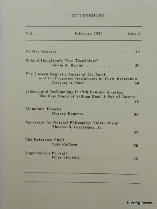Rittenhouse Vol. 1 No. 2 (Issue 2): Journal of the American Scientific Instrument Enterprise Feb 1987