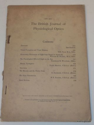 [ Early Television ; Zeiss Planetarium ] The British Journal of Physiological Optics. No 3. July 1927. William B. Barker, John H. Sutcliffe.