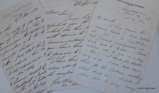 Early Telegraph ] A group of three handwritten letters to George Wilson, Esq. , Chairman of the...