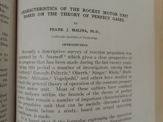Characteristics of the Rocket Motor Unit Based on the Theory of Perfect Gases. Frank Malina