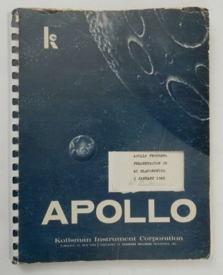 Apollo Programs Presentation to AC Electronics 5 January 1966. Kollsman Instrument Corporation