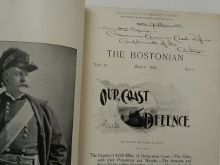 Our Coast Defence by Frye WITH The Rontgen Rays by Woodbridge IN The Bostonian, March 1896. Lieutenant James A. Frye, A. A. Ph D. Woodbridge.