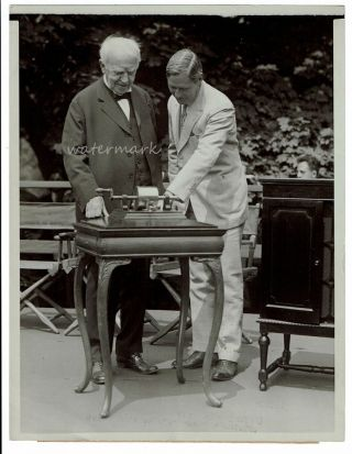 Photograph ] Edison Radios First Phonograph's Words! Thomas A. Edison, Governor Moore