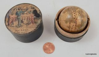object, globe ] Miniature Klinger Nuremberg globe in the original case. J. G. Klinger