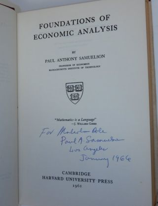 Foundations of Economic Analysis. Paul Anthony Samuelson.