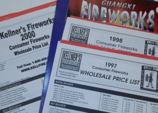 Kellner's Fireworks Consumer Fireworks Wholesale Price Lists for 1998, 1998, and 2000. Kellner's...
