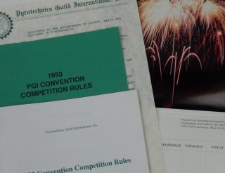 Pyrotechnics Guild International, Inc. 1997 Calendar, 1993 and 1997 Convention Competition Rules....