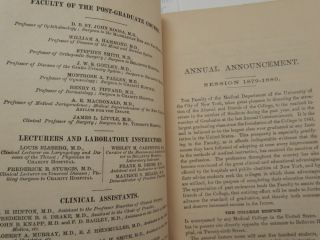 University of the City of New York Medical Department. Annual Announcement of Lectures and Catalogue Session 1879-80