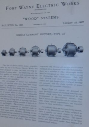 Wood Systems. Bulletin No.1091. Direct-Current Motors - Type EF February 15, 1907. Fort Wayne...