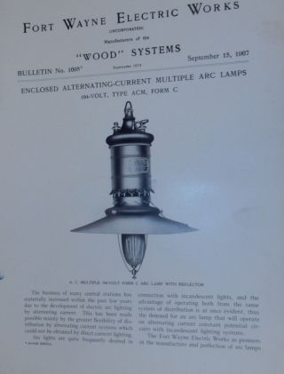 Wood Systems. Bulletin No.1095. Enclosed Alternating Current Multiple Arc Lamps 104-volt, Type...