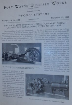 Wood Systems. Bulletin No.1102 (supercedes No 1088). List of Plants Operating Direct-Current...