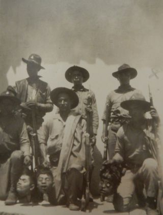 Real Photo Postcard (RPPC) depicting six soldiers (probably the Nicaraguan National Guard)...