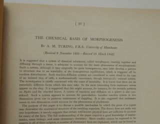 The Chemical Basis of Morphogenesis. A. M. Turing, Alan