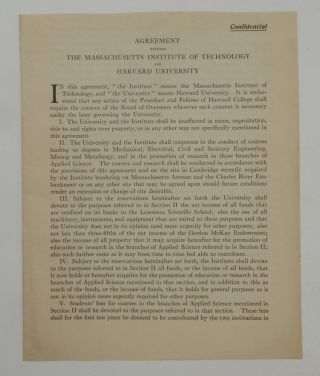 """Agreement Between The Massachusetts Institute of Technology and Harvard University"" [ caption title ]. Massachusetts Institute of Technology; Harvard University."