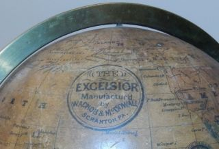 """Rare 7 inch American Terrestrial globe """"The EXCELSIOR"""" by Wachob and McDowall of Scranton, PA"""