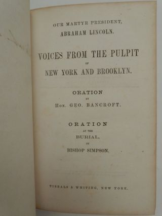 Our Martyr President, Abraham Lincoln. Voices From the Pulpit of New York and Brooklyn